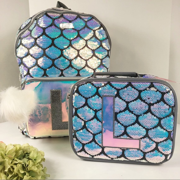 """New Justice Mermaid Sequin Initial /""""A/"""" Backpack with Pom Pom"""